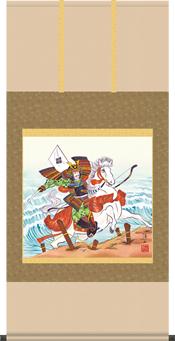 掛け軸-馬上武者/宇崎洋山(幅広尺八横・桐箱)床の間に男児の成長祈願で飾る端午の節句画掛軸、初節句のお祝い掛軸としてもどうぞ、送料無料、伝統の床の間飾り、男の子誕生祝、出産祝い