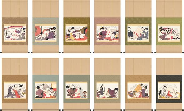 掛け軸-ねがひの糸ぐち一図~十二図揃/喜多川歌麿 浮世絵秘蔵名品集(春画)掛軸仕立て