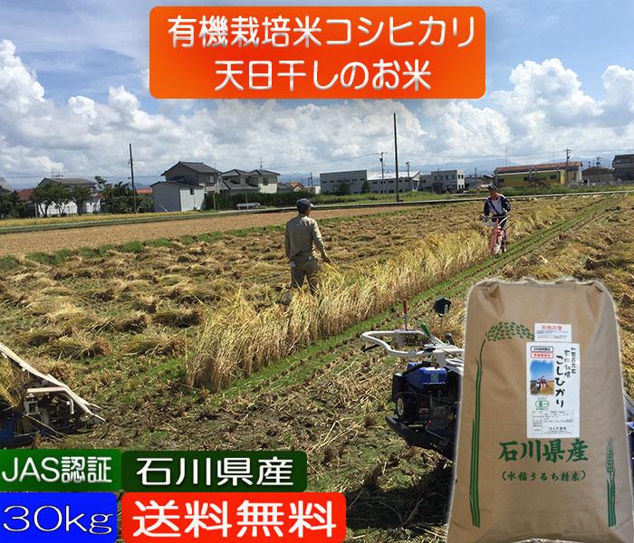 お米 30kg 送料無料 無農薬 天日干し 有機米 「天地の誉」 白米 玄米 5分づき精米 からお選びください。 コシヒカリ こしひかり 令和二年産 新米 EM 農法 無農薬 《JAS》[無農薬・有機栽培米・オーガニック・有機・EM菌] ギフト