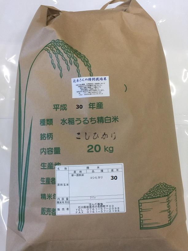 お米 20kg 送料無料 令和元年産 新米・辻本さんの特別栽培米こしひかり 白米 玄米 5分搗き精米 からお選びください コシヒカリ 天皇献上米 母の日 父の日 ギフト