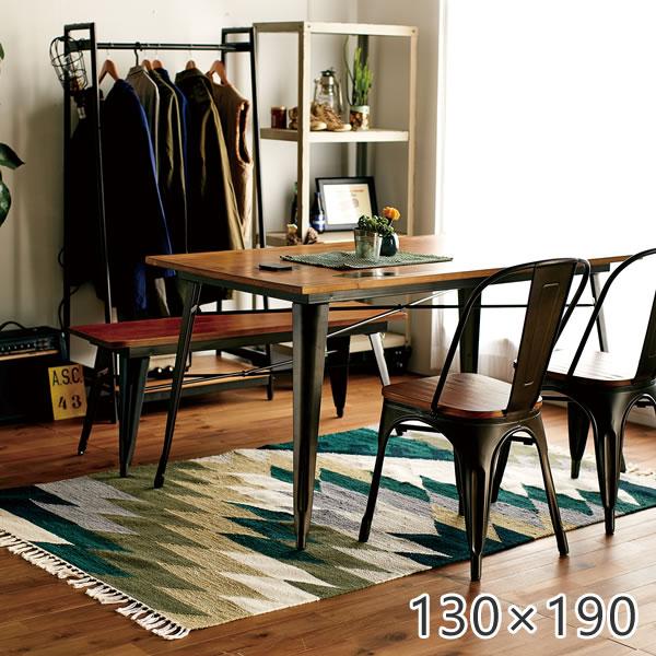 ラグ シンプル インダストリアルデザインラグ RAJ-1617 130×190cm モリヨシ ラグ カーペット ホットカーペット対応 床暖房対応 ウール 綿 コットン 迷彩 ラグ