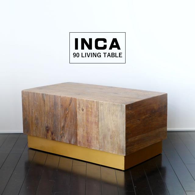 木の表情が力強いリビングテーブルです 存在感のある形状と ヨーロッパで愛され続けているエルム材ならではの質感が ヴィンテージでお洒落な雰囲気を醸し出します センターテーブル おしゃれ 日本正規代理店品 INKA インカ 90 商店 リビングテーブル ガルト GART 木製 ヴィンテージ レトロ 西海岸テイスト 男前インテリア シンプル 四角形 木製テーブル モダン 無垢 北欧 オブジェ カントリー 木目 table テーブル