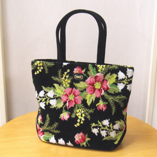 バッグ レディース(婦人) ブランド FEILER(フェイラー) コルティナ 2wayバッグ 黒(ブラック) シェニール織りの鞄(かばん) 2つのデザインが楽しめる花柄デザイン 母の日や誕生日など女性へのプレゼントに あす楽対応