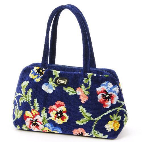 ハンドバッグ レディース(婦人) FEILER(フェイラー) 『バッグ ニュービオラ ネイビー』 ドイツのシェニール織りのブランド「フェイラー」の鞄(かばん) 可憐な花柄がおしゃれで可愛い 誕生日など大人の女性へのギフトに