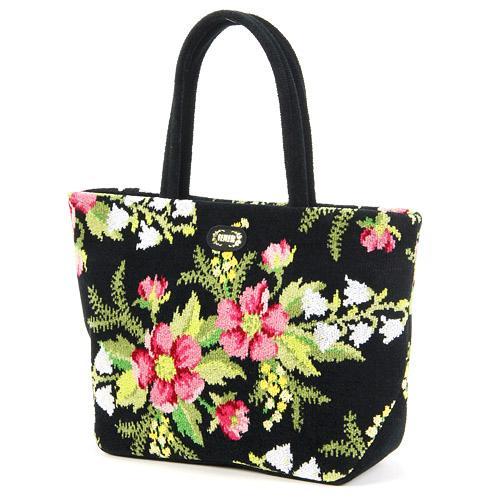 トートバッグ 横長 レディース(婦人) ブランド FEILER(フェイラー) 花柄 『コルティナ バッグ 黒(ブラック)』 シェニール織りの手提げ鞄(かばん) 母の日や誕生日など女性へのプレゼントに あす楽対応 【母の日 プレゼント ポイント10倍】