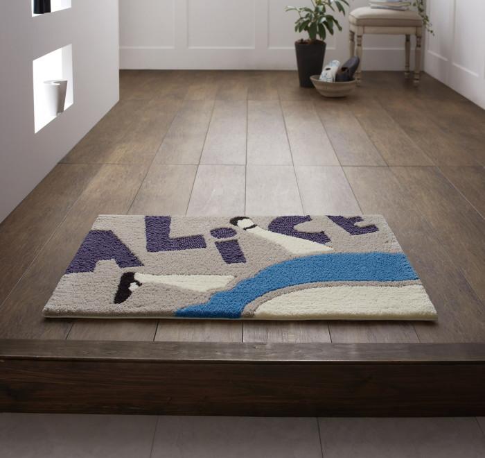 玄関マット 室内 ディズニー ふしぎの国のアリス 50×80cm 『アリス/フォーリングマット』 グレー おしゃれ