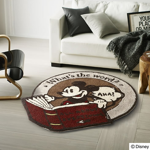 ディズニー ラグマット 110×110cm(円形)プレミアムコレクションミッキー/ディクショナリーラグ【Disney HOME SERIES】【Disneyzone】