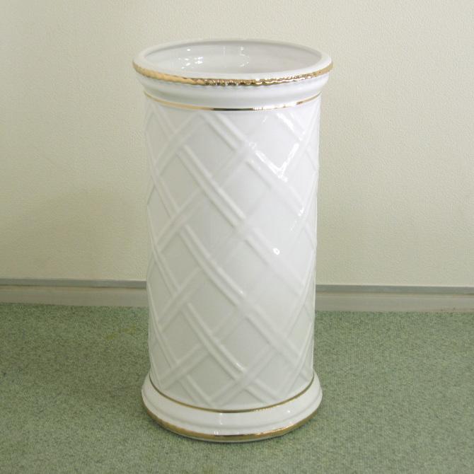 傘立て(かさたて) 陶器 ポルトガル ゴールドライン ホワイト&ゴールド[アンブレラスタンド アンブレラホルダー レインラック 傘入れ 傘スタンド]【あす楽対応】