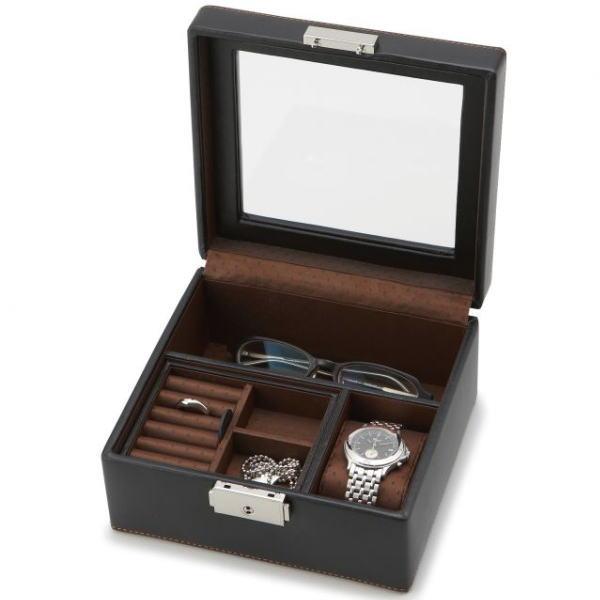 アクセサリー類や時計 メガネなどを美しく収納しておける男性向けのアイテムです フタ部分は透明なガラスになっているので お気に入りを眺められます アクセサリーケース 売り込み 収納 男性用 小物入れ LA IDEALE 受注生産品 M VITA 誕生日プレゼントや父の日など男性への贈り物に最適 ブラック メンズボックス