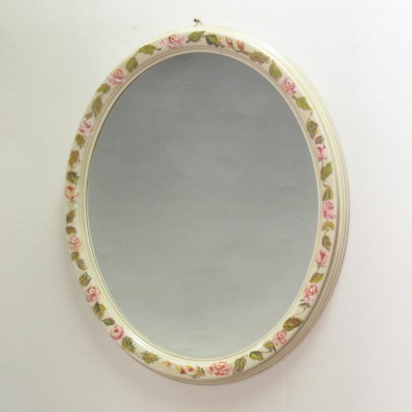鏡 壁掛け ハンドペイントオーバル W7450R 壁掛け鏡(壁掛けミラー/ウォールミラー)