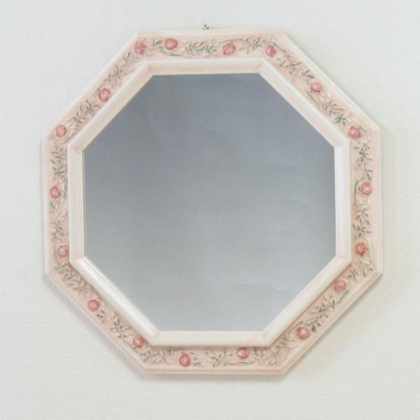 鏡 壁掛け 八角ミラー ピンクローズイタリア製 壁掛け鏡(壁掛けミラー/ウォールミラー)