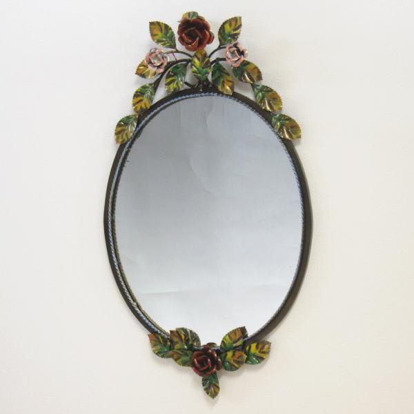 鏡 壁掛け イタリア製 『バラアイアン』 壁掛け鏡(壁掛けミラー/ウォールミラー)
