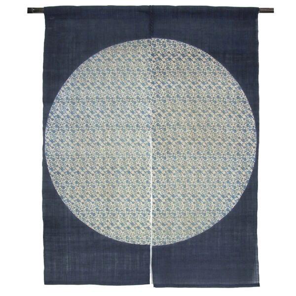 のれん 90×120cm 『丸 花唐草 藍』 麻のれん 暖簾 和風