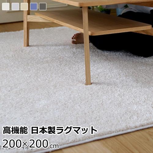 ラグマット 200×200cm(正方形) ふわふわ 『イルミエ』 防ダニ/防炎/滑り止め/床暖房・ホットカーペット対応 全5色 スミノエ 日本製
