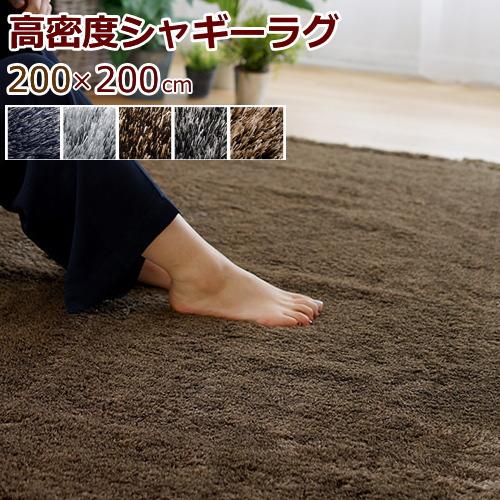 ラグマット シャギー 200×200cm(正方形) 『ネオグラス』 全5色 日本製 防ダニ/滑り止め/床暖対応・ホットカーペット対応