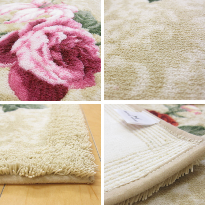 Bath mat (toilet mats / door mat) approximately 50 x 80 cm HANAE MORI Hanae Mori Botanical Flower beige / black / (black) and Red (red) Roses (rose) patterns in embroidery like Hanae Mori Butterfly pattern on the fashionable expression antibacterial, abs