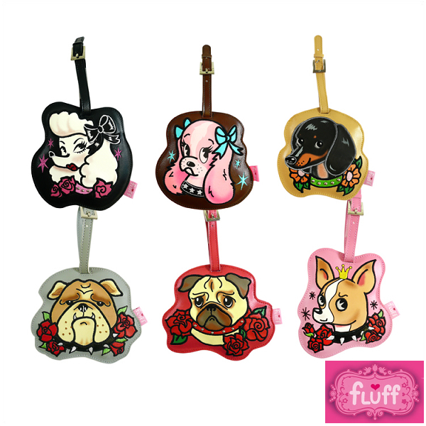 FLUFF- フラフ LUGGAGE TAG- luggage tag name tag / name card / luggage tag  tattoo dogs vintage design tattoo わんこ sale