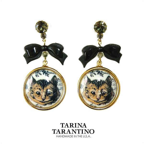 送料無料 TARINA TARANTINO タリナタランティーノ 不思議の国のアリス アリスインワンダーランドクイーンアリス チェチャ猫 人気急上昇 ピアス 入手困難 レディース