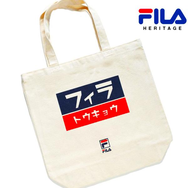 格安 価格でご提供いたします メール便可 FILA フィラ ヘリテージ TOKYO トウキョウ セール商品 コットン トートバッグ エコバッグ メッシュ 男女兼用 ユニセックス 手提げバッグ