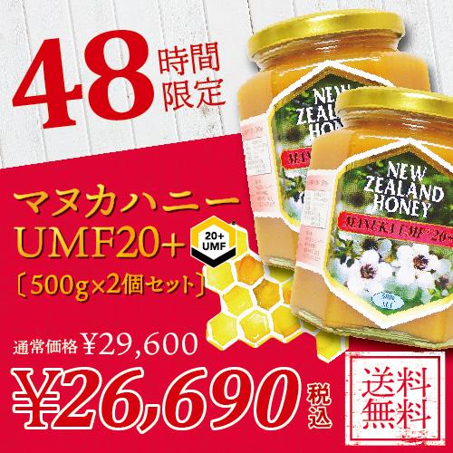 【エントリーで全品ポイント5倍】 マヌカハニー UMF 20+ 500g (MGO 829以上)【2個セット】 非加熱 の 100%純粋 生マヌカ はちみつ ハチミツ 蜂蜜