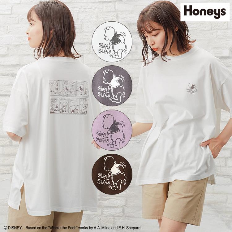 ほのぼのプーさんと一緒♪ S M L COLZA(コルザ) トップス Tシャツ 半袖 プリント ワンポイント ゆったり カジュアル おしゃれ レディース 夏 SALE セール Honeys ハニーズ Tシャツ(プーさん)