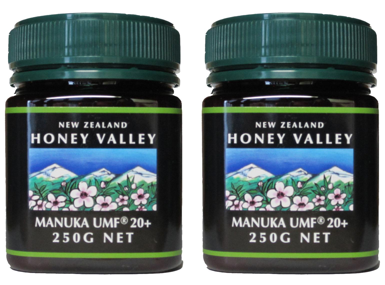 AMHA会員No.1037 100%PureNewZealandHoney社製のニュージーランドの マヌカハニー【天然はちみつ】 【送料無料】マヌカハニーUMF20+ (250g 2瓶セット)【無添加天然蜂蜜(はちみつ)】【UMF値検査証明書写付】