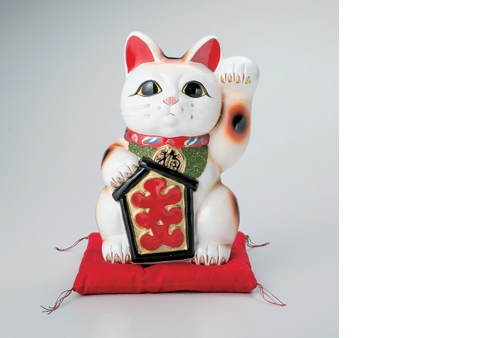 白大入猫 招き猫 招きネコ 左手 13号 常滑焼
