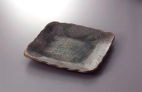 焼締緑釉38cm正角皿(土物)