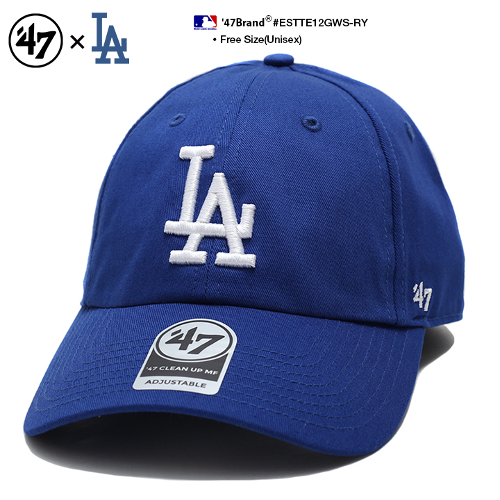 lowest price 57ba5 2e342 ... buy 47 brand los angeles dodgers clean up mlb strapback hat cap all  black black b