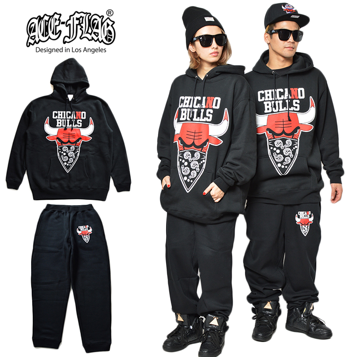 ACEFLAG Chicano bulls pullover Parker x sweet long pants set up sampling  Black Black 02P19Jun15
