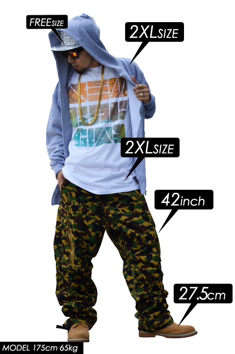 ROCAWEAR camouflage pattern cargo thick r1013b01 long pants Chino pants trousers, Camo pattern Rocawear 36338802P01Mar15