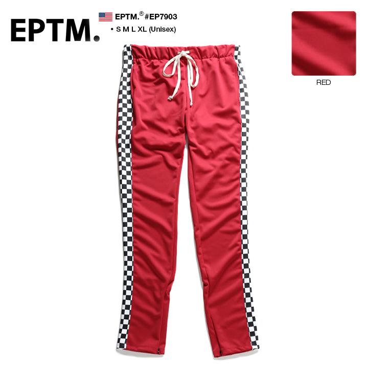 【送料無料】b系 ヒップホップ ストリート系 ファッション 服 メンズ レディース ロングパンツ 【EP7903】 エピトミ EPTM チェッカーフラッグ トラックパンツ ジャージ イージー ストレッチ パンツ レース旗 サイドライン 赤 XL 2L LL 大きいサイズ 正規品
