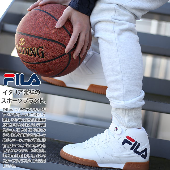 Fashion men sneakers shoes shoes Fila FILA F13 middle cut mid cut white genuine leather Shin pull American casual dance skating basketball basketball