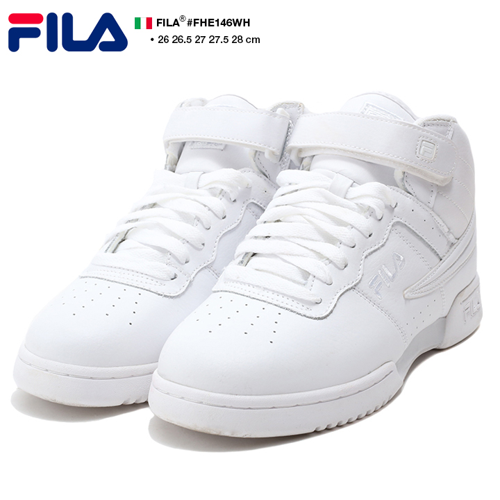 Fashion men sneakers shoes shoes Fila FILA F13 middle cut mid cut white oar white genuine leather Shin pull dance skating basketball shoes sports