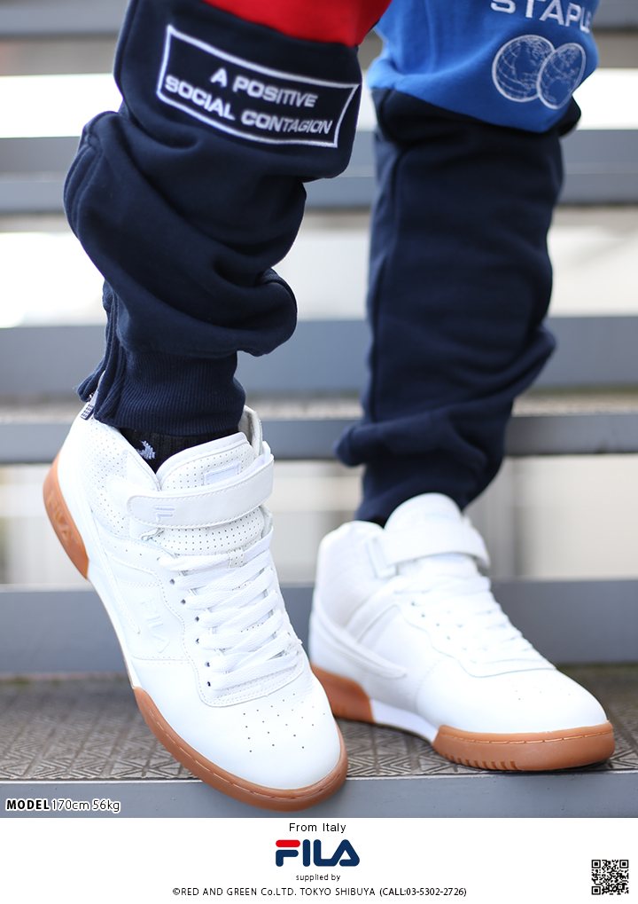 Fashion men sneakers shoes shoes Fila FILA F13 middle cut mid cut white mesh genuine leather Shin pull dance skating basketball gym sports Italy brand