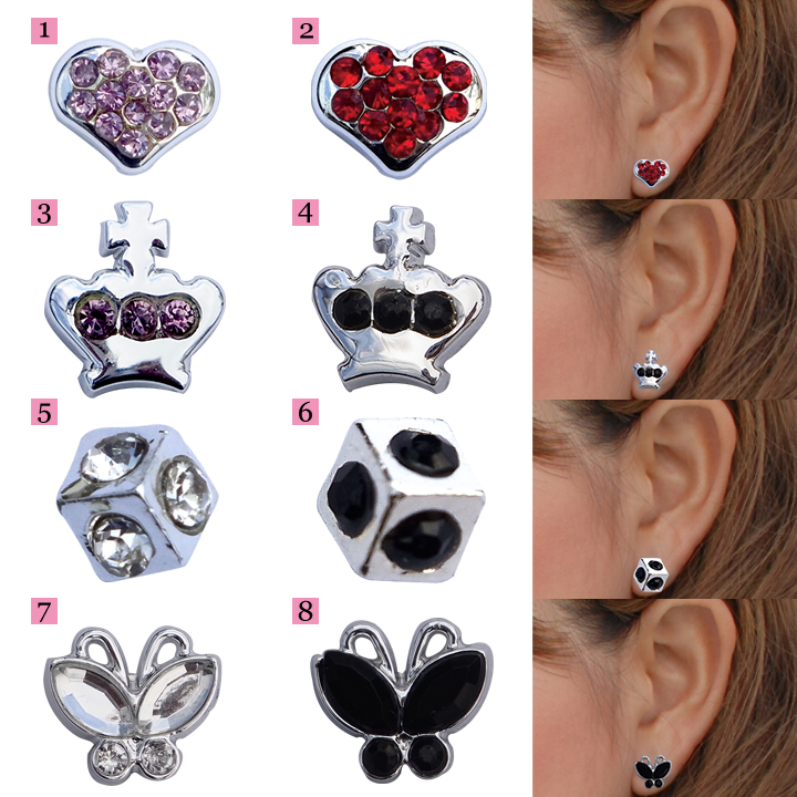 Ace Flag Magnetic Earrings Pair 2 Piece Heart Crown Cube Erfly Star To Ton Flower Clover Silver Color Dekojuel 02p01mar15