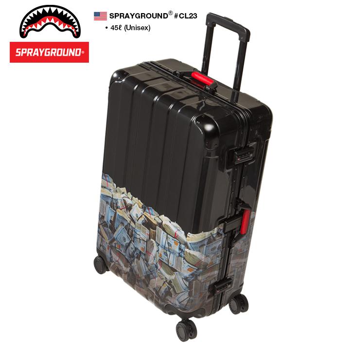 【送料無料】b系 ストリート系 メンズ レディース キャリーバッグ スーツケース 【CL23】 スプレーグラウンド SPRAY GROUND 45L 機内持ち込み トラベル 旅行 出張 帰省 8輪キャスター 軽量 TSAロック バッグ BAG おしゃれ 高機能 大型 大容量 ドル柄 正規品 ギフト