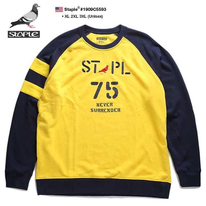ステイプル STAPLE スウェット トレーナー 長袖 メンズ 黄色 XL 2L LL 2XL 3L XXL 3XL 4L XXXL 大きいサイズ b系 ヒップホップ ストリート系 ファッション ブランド 服 かっこいい おしゃれ 袖ライン バイカラー ステンシルアート ビッグシルエット 裏パイル 1909C5593