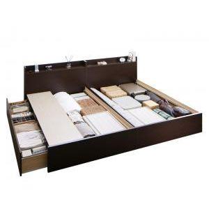 ●ポイント5倍●お客様組立 連結 棚・コンセント付すのこ収納ベッド Ernesti エルネスティ ベッドフレームのみ A+Bタイプ ワイドK200[4D][00]