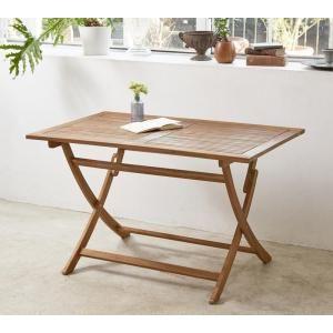 ●ポイント7.5倍●アカシア天然木 折りたたみ式ナチュラルガーデンファニチャー Relat リラト テーブル W120[4D][00]
