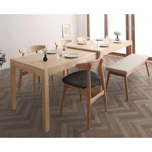 ●ポイント5倍●北欧デザイン スライド伸縮テーブル ダイニングセット SORA ソラ 6点セット(テーブル+チェア4脚+ベンチ1脚) W135-235[00]