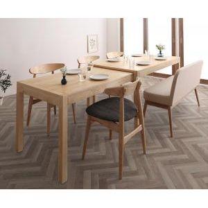 ●ポイント5倍●北欧デザイン スライド伸縮テーブル ダイニングセット SORA ソラ 6点セット(テーブル+チェア4脚+ソファベンチ1脚) W135-235[00]