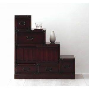 ●ポイント5倍●民芸調家具シリーズ 階段箪笥右下がり[1D][00]