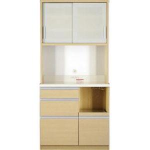 ●ポイント5倍●組立設置 大型レンジ対応 清潔感のある印象が特徴のキッチンボード Ethica エチカ キッチンボード 幅90 高さ193[4D][00]