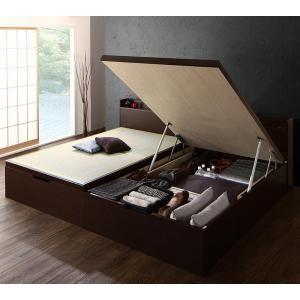●ポイント6倍●シンプルモダンデザイン大容量収納日本製棚付きガス圧式跳ね上げ畳ベッド 結葉 ユイハ セミダブル 深さラージ[4D][00]
