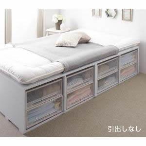 ●ポイント4.5倍●布団で寝られる大容量収納ベッド Semper センペール 薄型スタンダードボンネルコイルマットレス付き 引き出しなし ハイタイプ セミダブル[L][00]