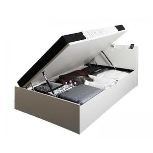 ●ポイント6.5倍●シンプルデザイン大容量収納跳ね上げ式ベッド Fermer フェルマー 薄型プレミアムポケットコイルマットレス付き 横開き セミシングル 深さラージ[L][00]
