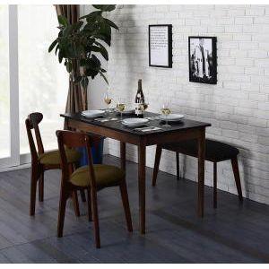 ●ポイント6.5倍●カフェ ヴィンテージ ダイニング Mumford マムフォード 4点セット(テーブル+チェア2脚+ベンチ1脚) ブラック×ブラウン W115[L][00]