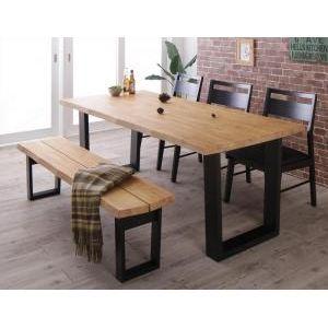 ●ポイント5倍●天然木無垢材ヴィンテージデザインダイニング NELL ネル 5点セット(テーブル+チェア3脚+ベンチ1脚) ベンチ3P W180[4D][00]
