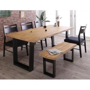 ●ポイント4.5倍●天然木無垢材ヴィンテージデザインダイニング NELL ネル 6点セット(テーブル+チェア4脚+ベンチ1脚) ベンチ2P W180[4D][00]
